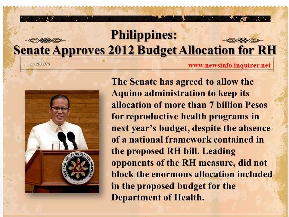 The Senate has agreed to allow the Aquino administration to keep its allocation of more than 7 billion Pesos for reproductive health programs in next year's budget, despite the absence of a national framework contained in the proposed RH bill.