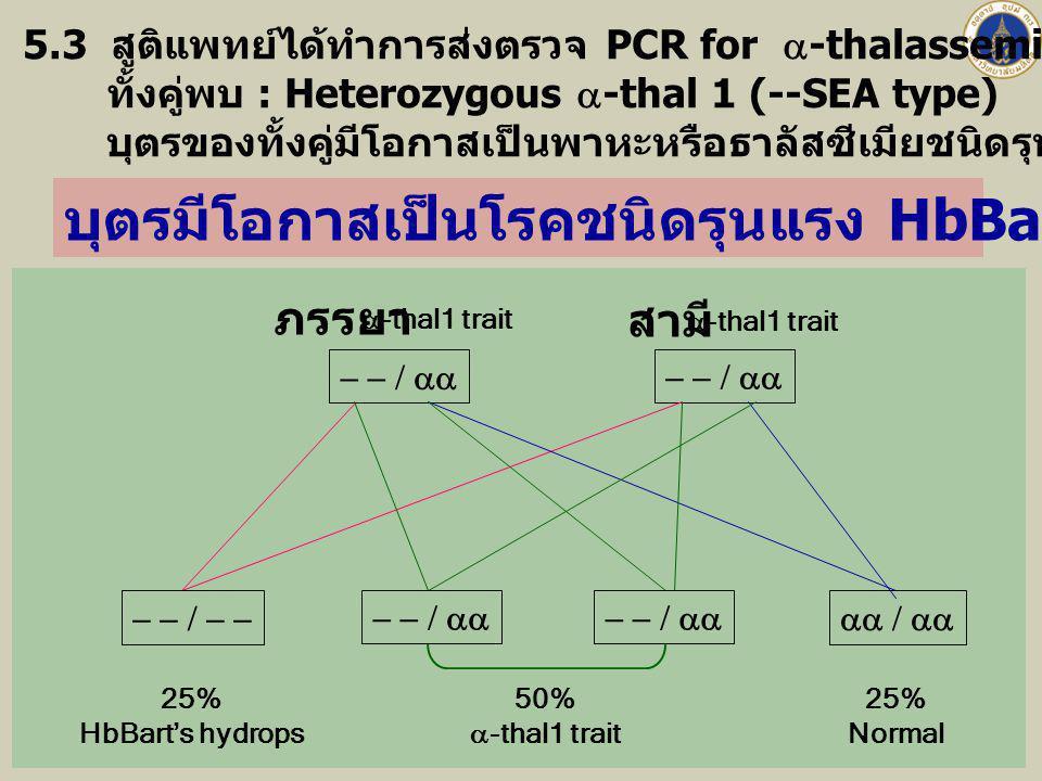  ภรรยา  -thal1 trait  สามี  -thal1 trait 5.3 สูติแพทย์ได้ทำการส่งตรวจ PCR for  -thalassemia ทั้งสามีและภรรยาเพิ่มเติม ทั้งคู่พบ : H