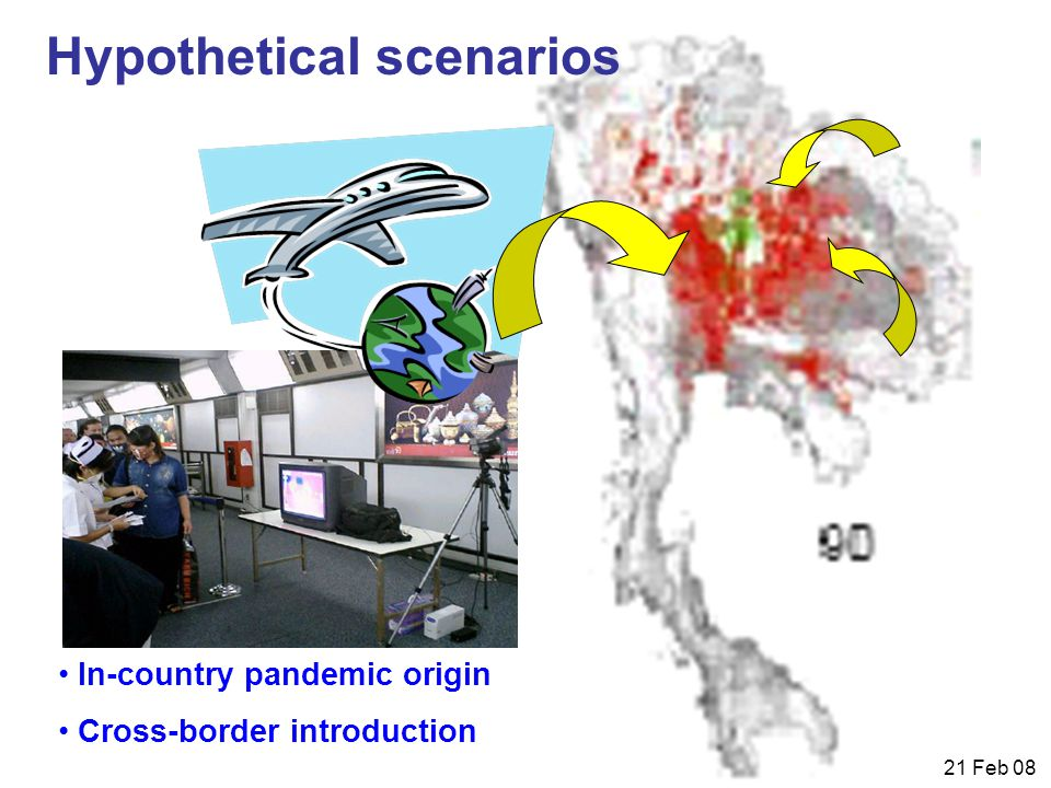 21 Feb 08 Hypothetical scenarios In-country pandemic origin Cross-border introduction