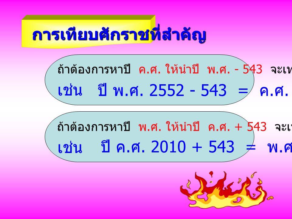 การเทียบศักราชที่สำคัญ ถ้าต้องการหาปี ค. ศ. ให้นำปี พ. ศ. - 543 จะเท่ากับ ปี ค. ศ. เช่น ปี พ. ศ. 2552 - 543 = ค. ศ. 2009 ถ้าต้องการหาปี พ. ศ. ให้นำปี