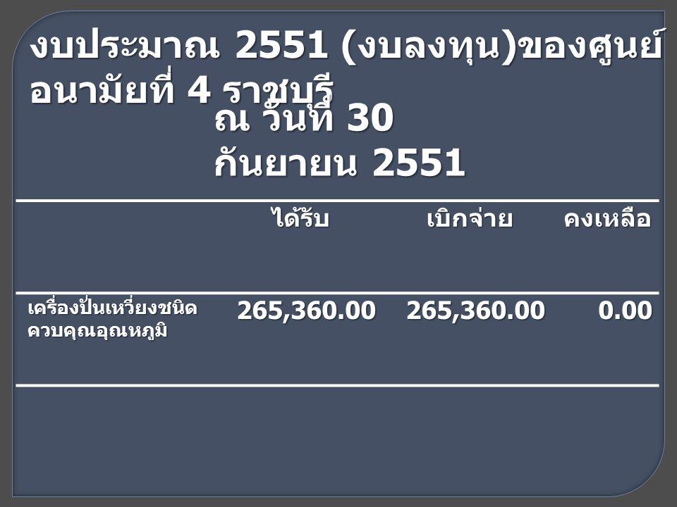 งบประมาณ 2551 ( งบลงทุน ) ของศูนย์ อนามัยที่ 4 ราชบุรี ณ วันที่ 30 กันยายน 2551 ได้รับเบิกจ่ายคงเหลือ เครื่องปั่นเหวี่ยงชนิด ควบคุณอุณหภูมิ 265,360.00265,360.000.00