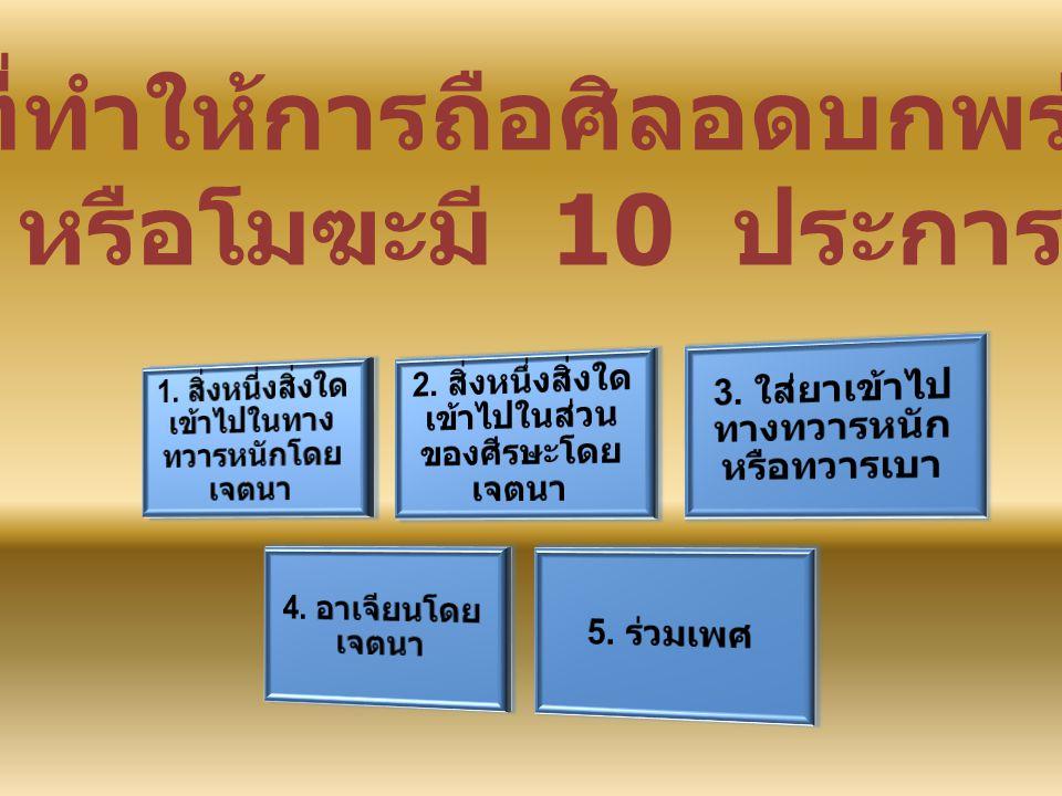 สิ่งที่ทำให้การถือศิลอด บกพร่อง มี 10 ประการ ( ต่อ ) 6.
