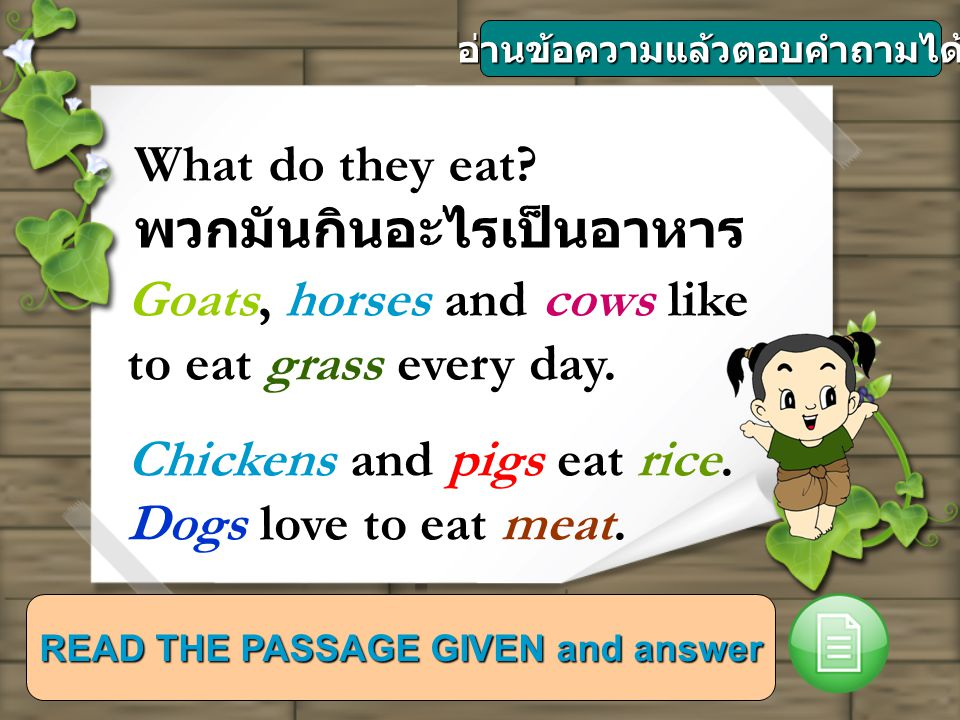 READ THE PASSAGE GIVEN and answer What do they eat.