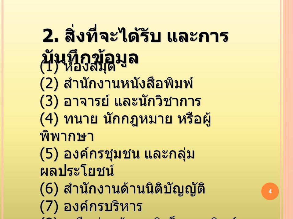 3 1. การระบุ แหล่งข้อมูล (1) ห้องสมุด (2) สำนักงานหนังสือพิมพ์ (3) อาจารย์ และนักวิชาการ (4) ทนาย นักกฎหมาย หรือผู้ พิพากษา (5) องค์กรชุมชน และกลุ่ม ผ