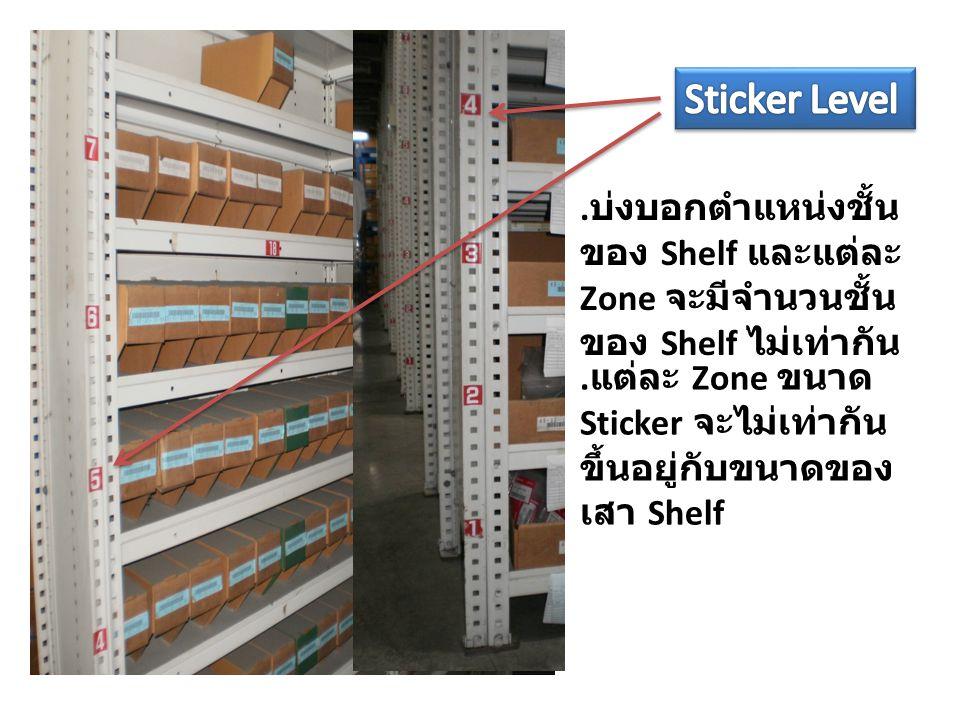 . บ่งบอกตำแหน่งชั้น ของ Shelf และแต่ละ Zone จะมีจำนวนชั้น ของ Shelf ไม่เท่ากัน. แต่ละ Zone ขนาด Sticker จะไม่เท่ากัน ขึ้นอยู่กับขนาดของ เสา Shelf