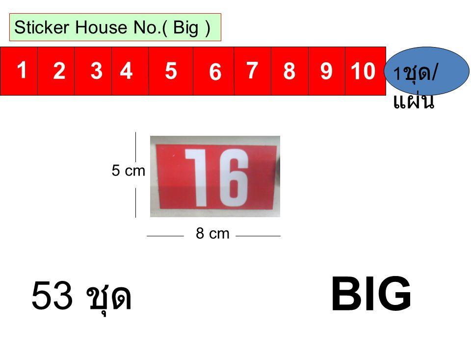 1 6 2 7 3 8 4 9 5 10 Sticker House No.( Big ) 8 cm 5 cm 1 ชุด / แผ่น BIG 53 ชุด