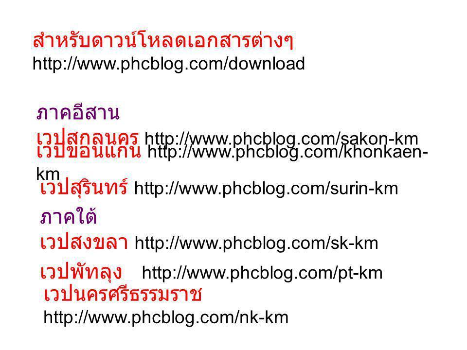 ภาคเหนือ เวปนครสวรรค์ http://www.phcblog.com/nakornsawan-km เวปลำปาง http://www.phcblog.com/lp-km ภาคกลาง เวปชลบุรี http://www.phcblog.com/cbo-km เวปฉะเชิงเทรา http://www.phcblog.com/plangyang-vhv ติดต่อสอบถาม suchinda_s@hotmail.com