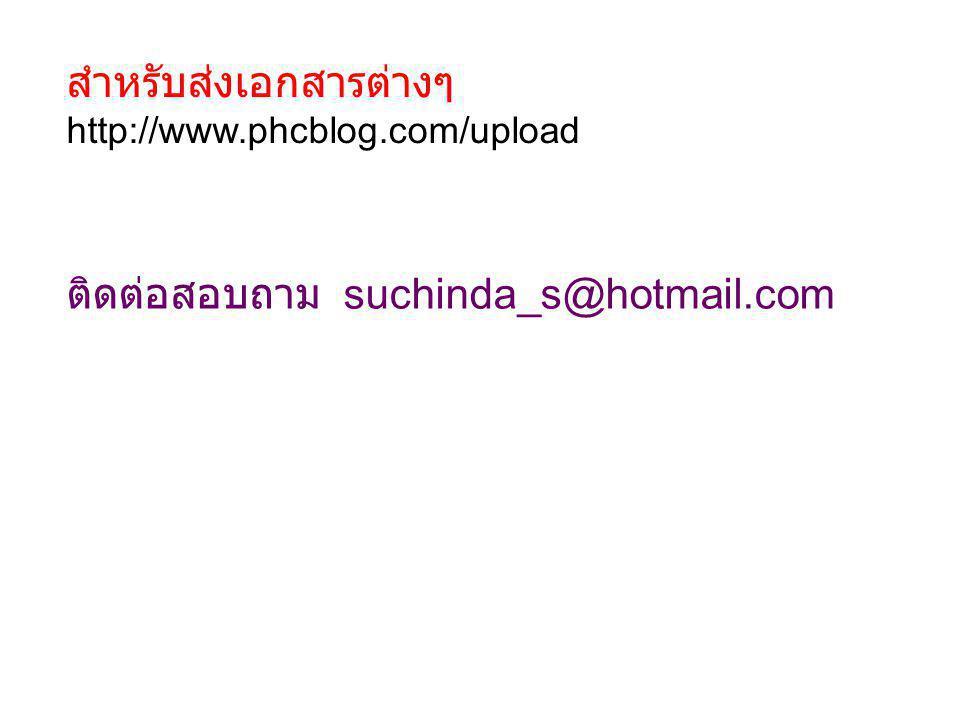 สำหรับส่งเอกสารต่างๆ http://www.phcblog.com/upload ติดต่อสอบถาม suchinda_s@hotmail.com