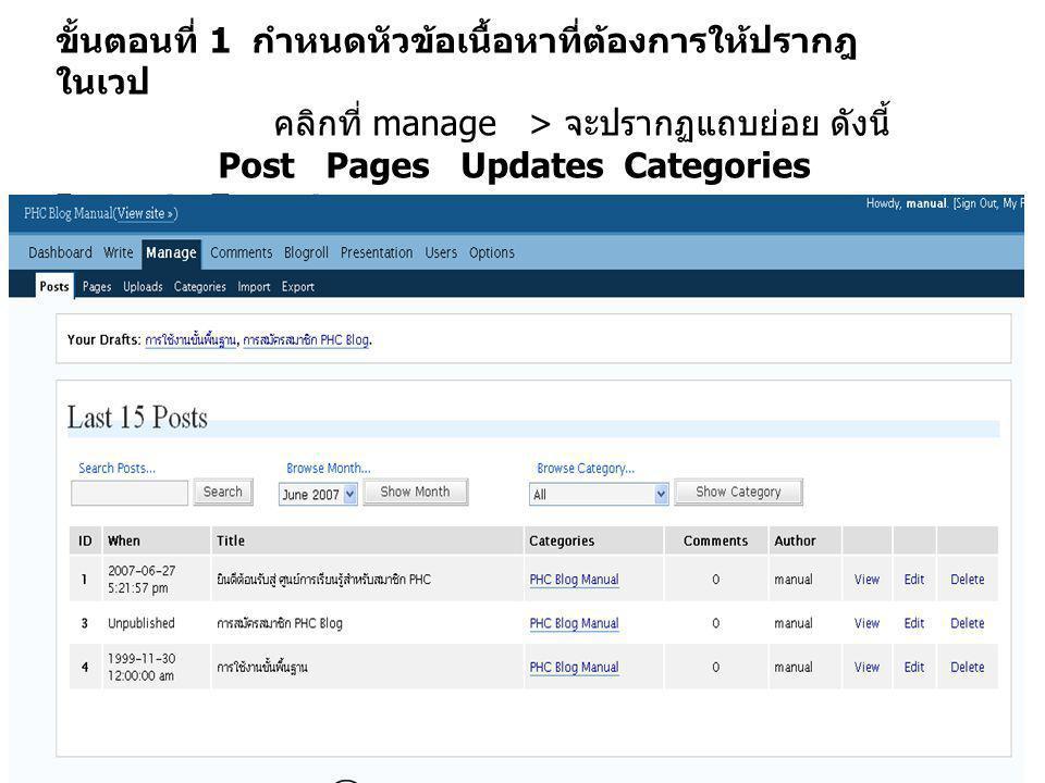 ขั้นตอนที่ 1 กำหนดหัวข้อเนื้อหาที่ต้องการให้ปรากฎ ในเวป คลิกที่ manage > จะปรากฏแถบย่อย ดังนี้ Post Pages Updates Categories Import Export