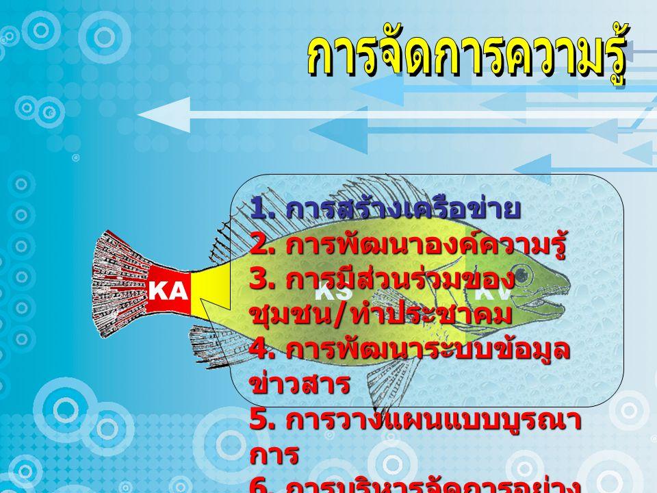 KA KS KV 1.การสร้างเครือข่าย 2. การพัฒนาองค์ความรู้ 3.