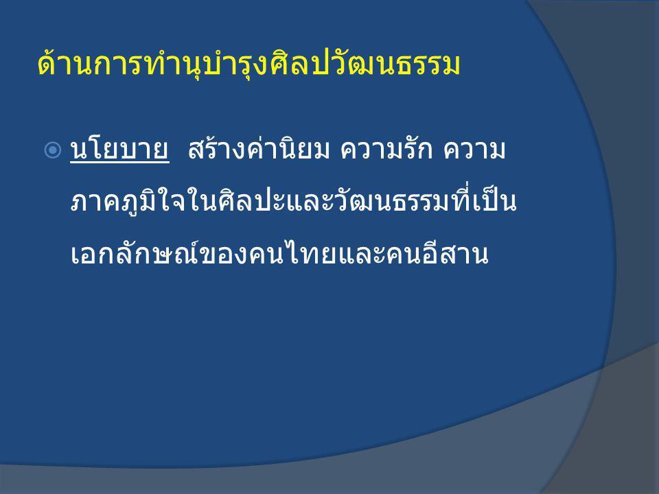 ด้านการทำนุบำรุงศิลปวัฒนธรรม  นโยบาย สร้างค่านิยม ความรัก ความ ภาคภูมิใจในศิลปะและวัฒนธรรมที่เป็น เอกลักษณ์ของคนไทยและคนอีสาน