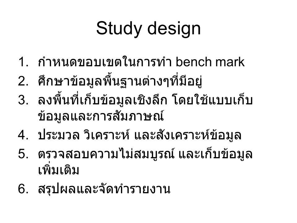Study design 1. กำหนดขอบเขตในการทำ bench mark 2. ศึกษาข้อมูลพื้นฐานต่างๆที่มีอยู่ 3. ลงพื้นที่เก็บข้อมูลเชิงลึก โดยใช้แบบเก็บ ข้อมูลและการสัมภาษณ์ 4.