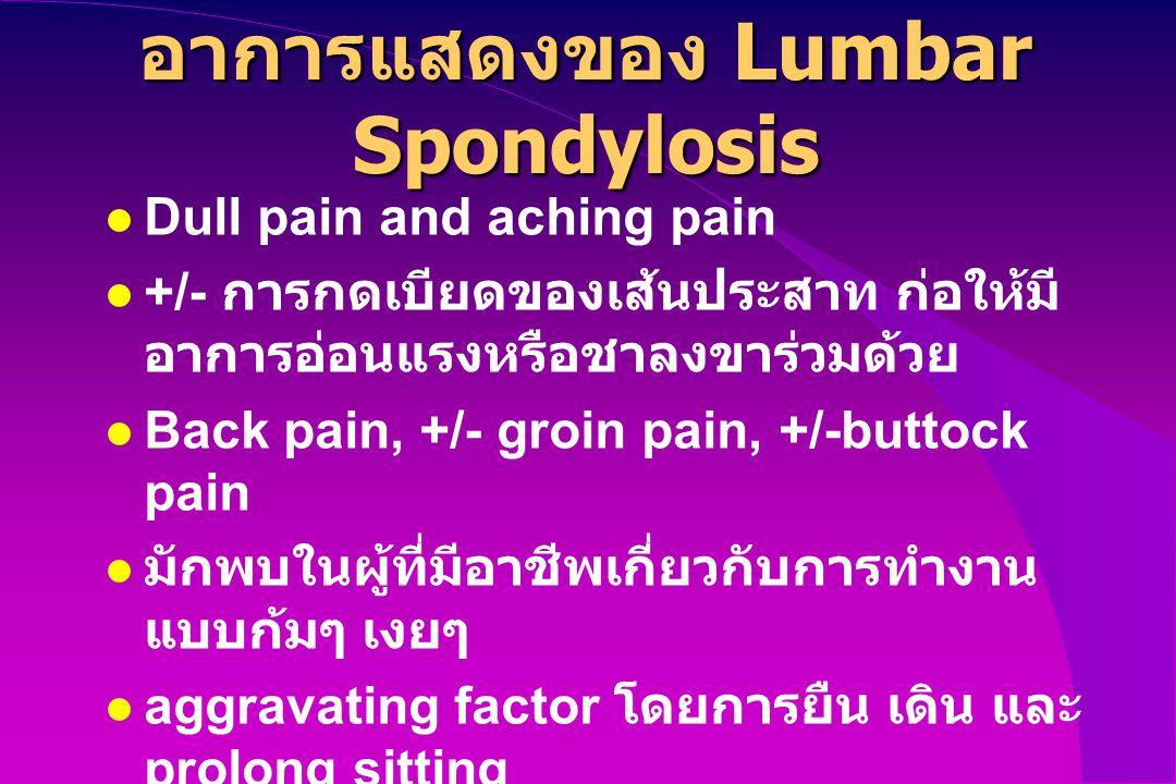 อาการแสดงของ Lumbar Spondylosis Dull pain and aching pain +/- การกดเบียดของเส้นประสาท ก่อให้มี อาการอ่อนแรงหรือชาลงขาร่วมด้วย Back pain, +/- groin pai