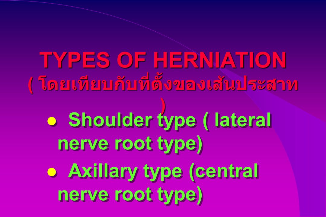 TYPES OF HERNIATION ( โดยเทียบกับที่ตั้งของเส้นประสาท ) Shoulder type ( lateral nerve root type) Axillary type (central nerve root type) Shoulder type