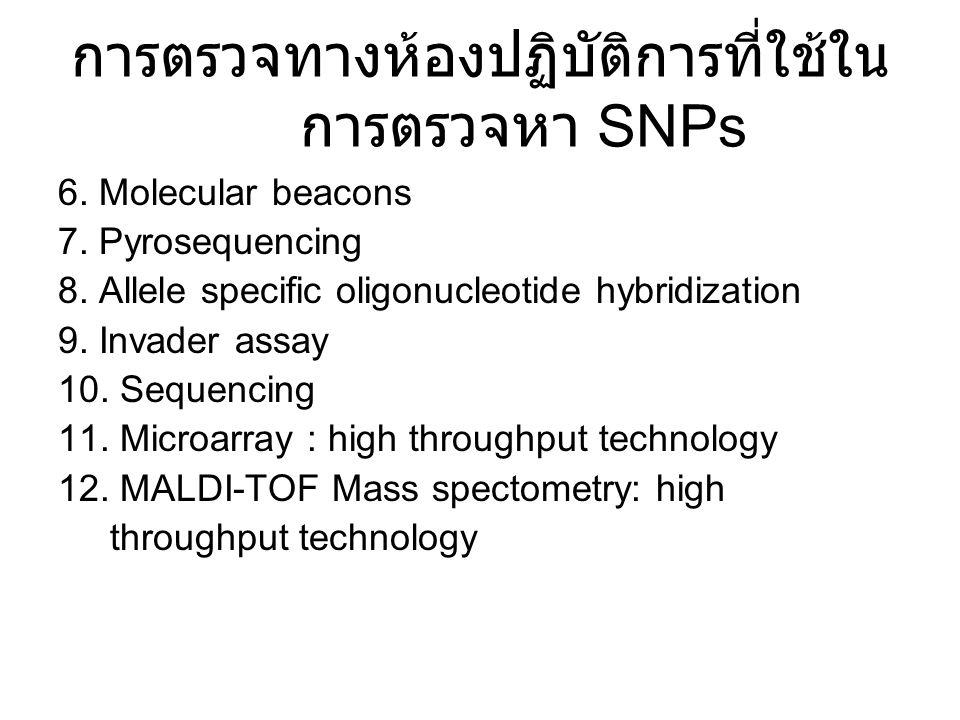 การตรวจทางห้องปฏิบัติการที่ใช้ใน การตรวจหา SNPs 6. Molecular beacons 7. Pyrosequencing 8. Allele specific oligonucleotide hybridization 9. Invader ass
