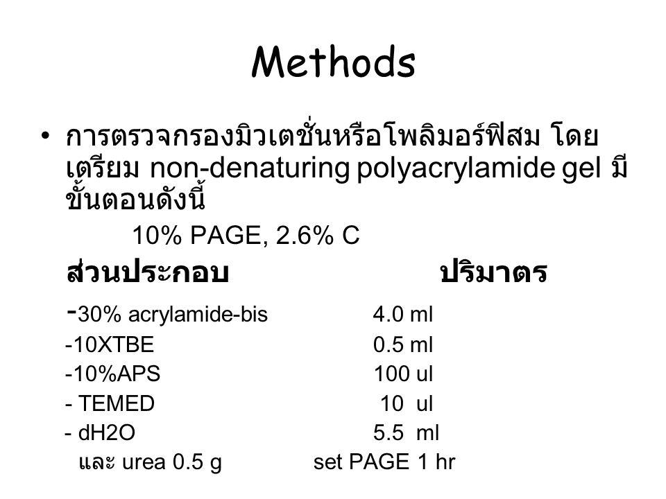 การตรวจกรองมิวเตชั่นหรือโพลิมอร์ฟิสม โดย เตรียม non-denaturing polyacrylamide gel มี ขั้นตอนดังนี้ 10% PAGE, 2.6% C ส่วนประกอบ ปริมาตร - 30% acrylamid