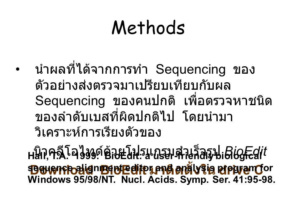 นำผลที่ได้จากการทำ Sequencing ของ ตัวอย่างส่งตรวจมาเปรียบเทียบกับผล Sequencing ของคนปกติ เพื่อตรวจหาชนิด ของลำดับเบสที่ผิดปกติไป โดยนำมา วิเคราะห์การเ