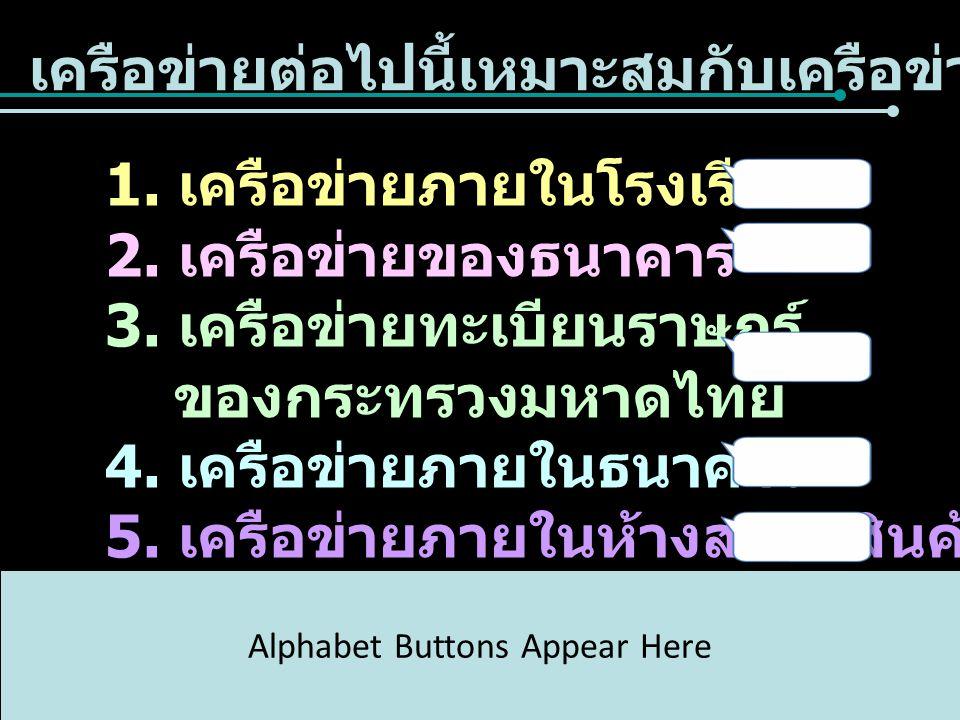 เครือข่ายต่อไปนี้เหมาะสมกับเครือข่ายชนิดใด 1. เครือข่ายภายในโรงเรียน 2. เครือข่ายของธนาคาร 3. เครือข่ายทะเบียนราษฎร์ ของกระทรวงมหาดไทย 4. เครือข่ายภาย