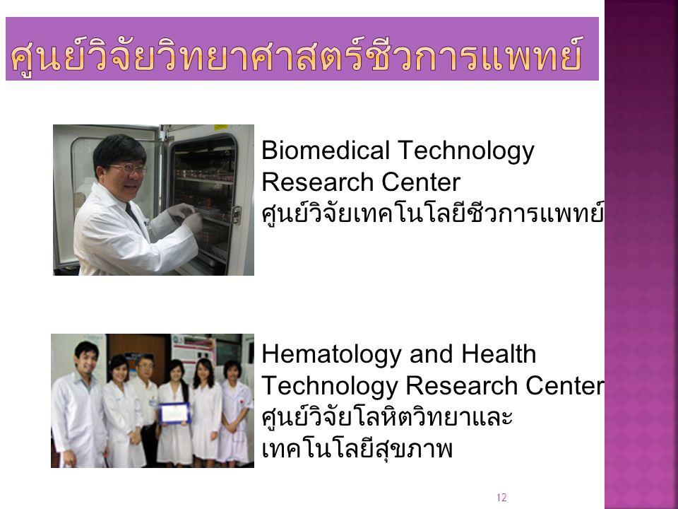 12 Biomedical Technology Research Center ศูนย์วิจัยเทคโนโลยีชีวการแพทย์ Hematology and Health Technology Research Center ศูนย์วิจัยโลหิตวิทยาและ เทคโน