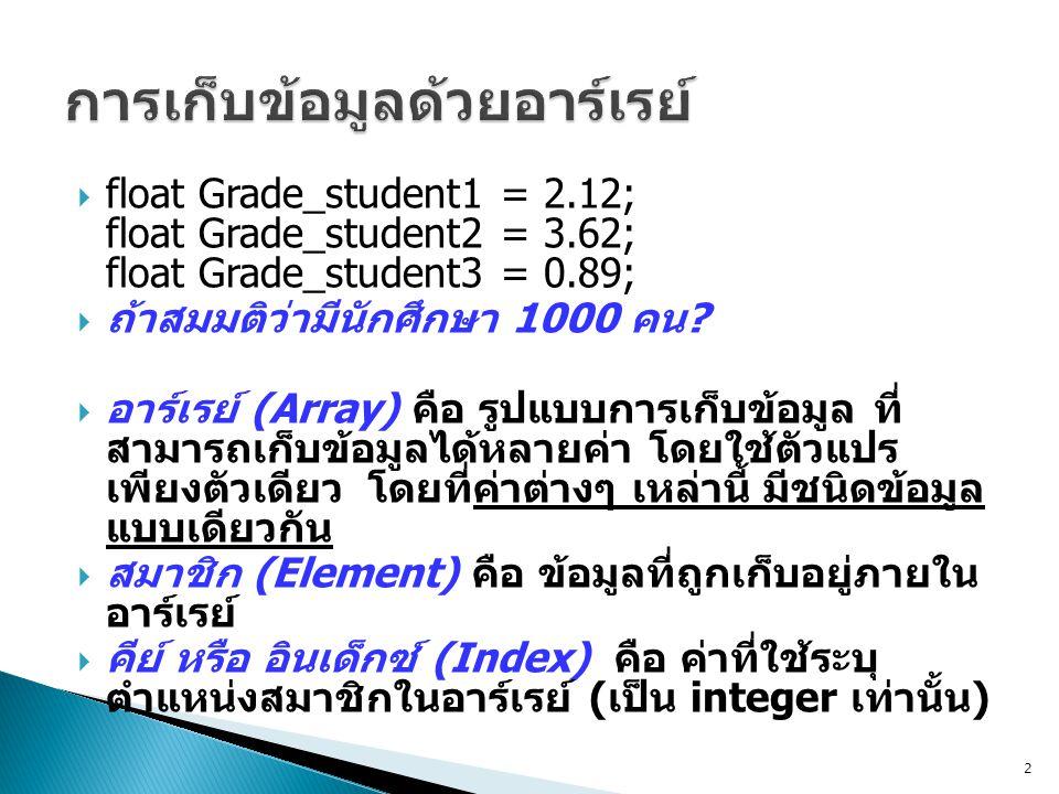  มีรูปแบบดังนี้ Array_Type Array_name[amount of element];  โดยที่ Array_Type คือ ชนิดข้อมูล (data type) ใน อาร์เรย์ เช่น int, char, float, double  Array_name คือ ชื่อของตัวแปรอาร์เรย์  [amount of element] คือ จำนวนสมาชิกของ อาร์เรย์ 3