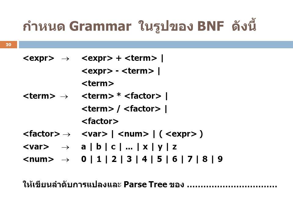 กำหนด Grammar ในรูปของ BNF ดังนี้  + | - |  * | / |  | | ( )  a | b | c |... | x | y | z  0 | 1 | 2 | 3 | 4 | 5 | 6 | 7 | 8 | 9 ให้เขียนลำดับการแ