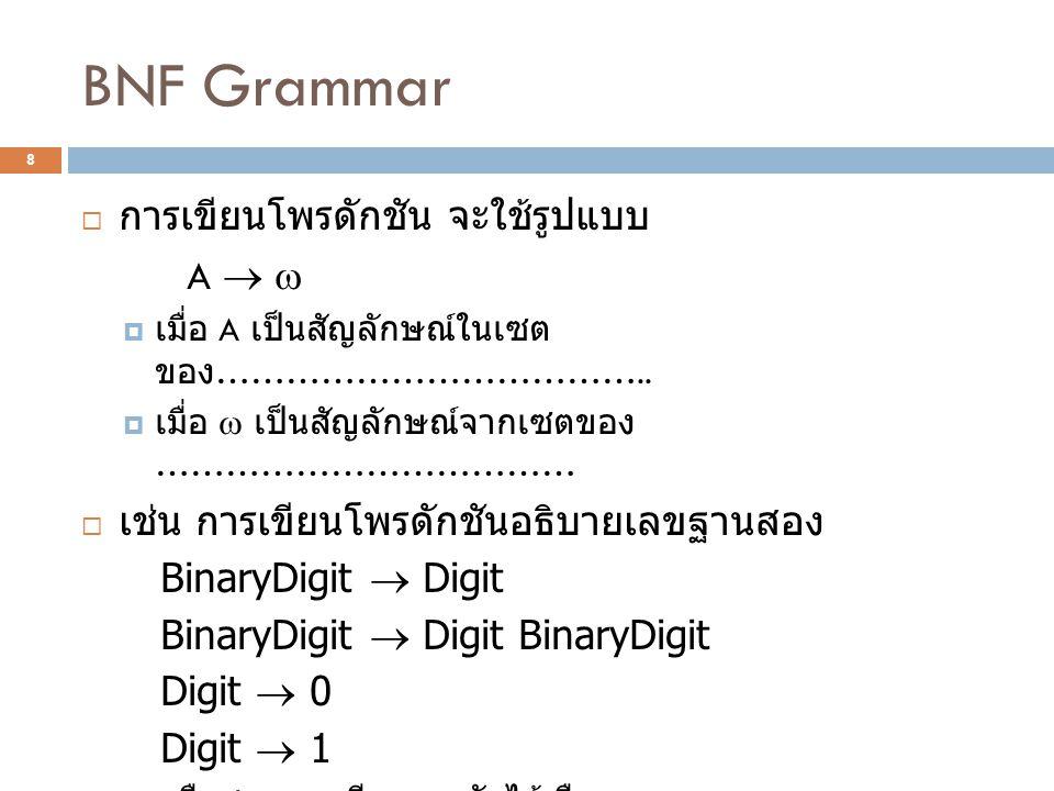 BNF Grammar  การเขียนโพรดักชัน จะใช้รูปแบบ A    เมื่อ A เป็นสัญลักษณ์ในเซต ของ ………………………………..  เมื่อ  เป็นสัญลักษณ์จากเซตของ ………………………………  เช่น
