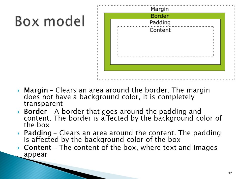  Margin - Clears an area around the border. The margin does not have a background color, it is completely transparent  Border - A border that goes a