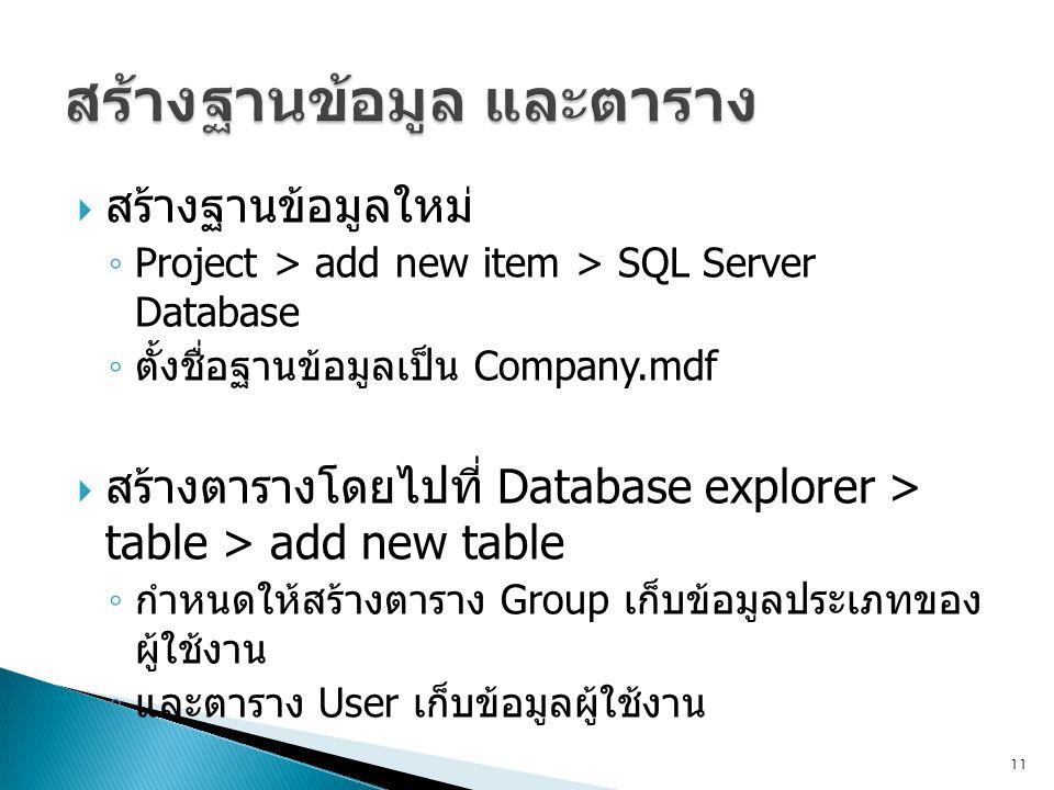  สร้างฐานข้อมูลใหม่ ◦ Project > add new item > SQL Server Database ◦ ตั้งชื่อฐานข้อมูลเป็น Company.mdf  สร้างตารางโดยไปที่ Database explorer > table > add new table ◦ กำหนดให้สร้างตาราง Group เก็บข้อมูลประเภทของ ผู้ใช้งาน ◦ และตาราง User เก็บข้อมูลผู้ใช้งาน 11