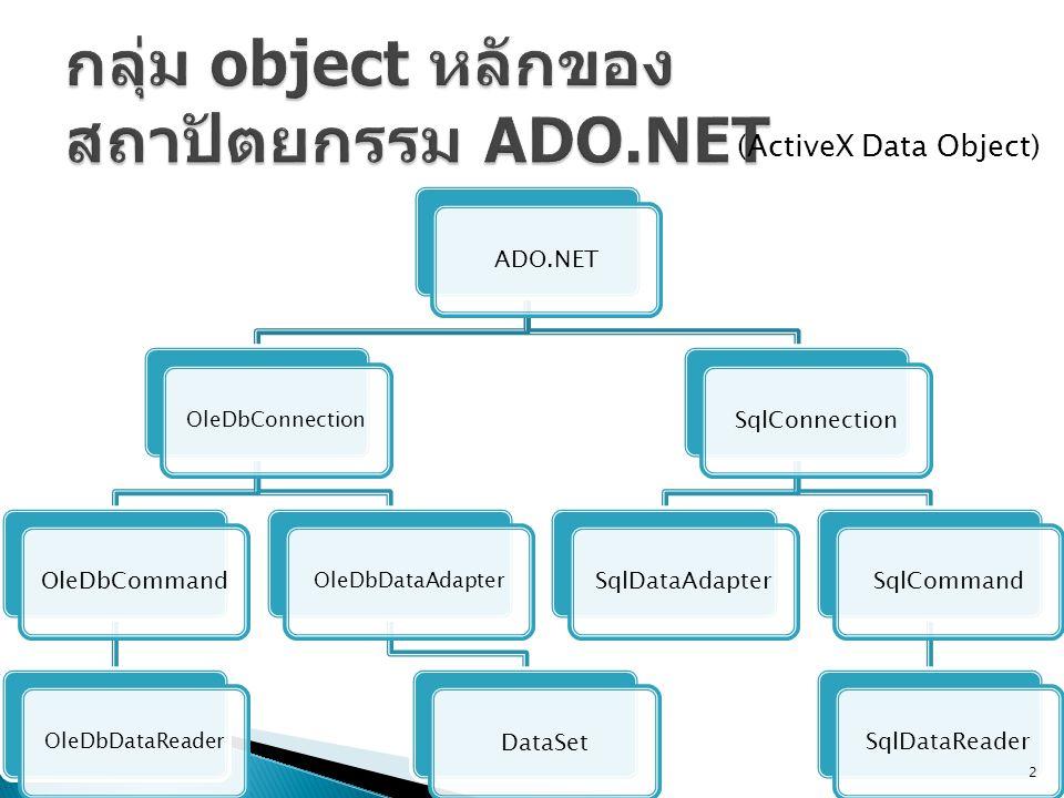 ADO.NET OleDbConnection OleDbCommand OleDbDataReaderOleDbDataAdapter DataSetSqlConnectionSqlDataAdapterSqlCommandSqlDataReader 2 (ActiveX Data Object)
