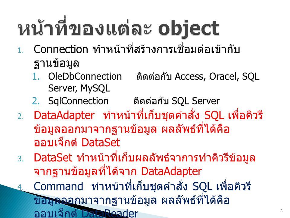 1. Connection ทำหน้าที่สร้างการเชื่อมต่อเข้ากับ ฐานข้อมูล 1.OleDbConnection ติดต่อกับ Access, Oracel, SQL Server, MySQL 2.SqlConnection ติดต่อกับ SQL