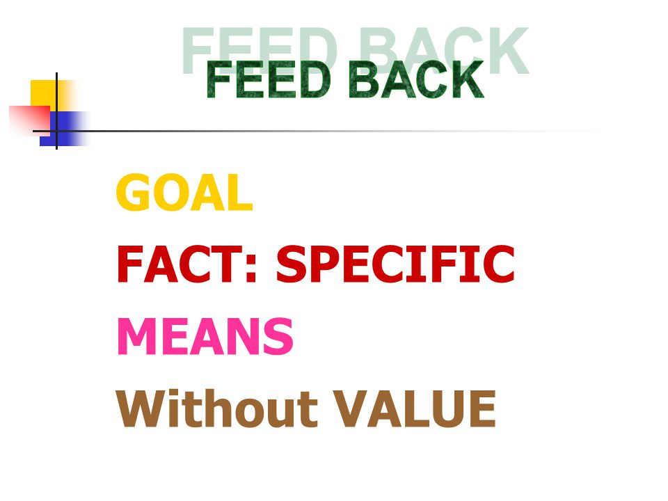 GOAL FACT: SPECIFIC MEANS Without VALUE
