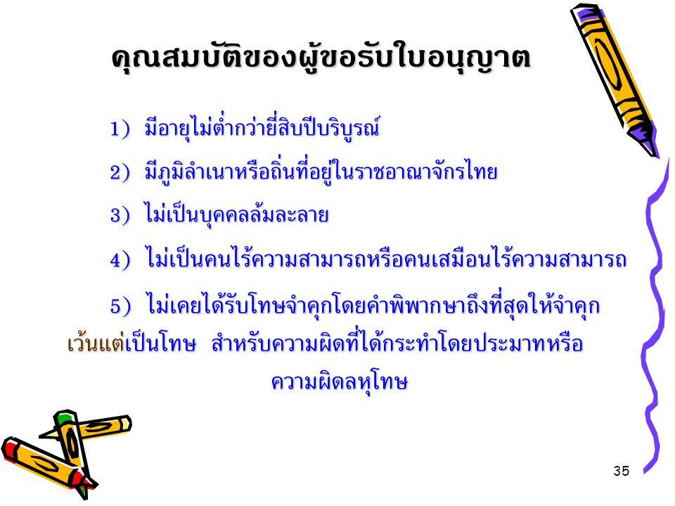 35 1) มีอายุไม่ต่ำกว่ายี่สิบปีบริบูรณ์ 1) มีอายุไม่ต่ำกว่ายี่สิบปีบริบูรณ์ 2) มีภูมิลำเนาหรือถิ่นที่อยู่ในราชอาณาจักรไทย 3) ไม่เป็นบุคคลล้มละลาย 4 ) ไ