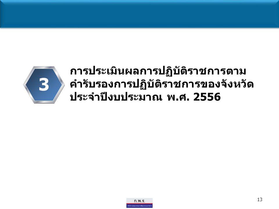 13 3 การประเมินผลการปฏิบัติราชการตาม คำรับรองการปฏิบัติราชการของจังหวัด ประจำปีงบประมาณ พ.ศ. 2556