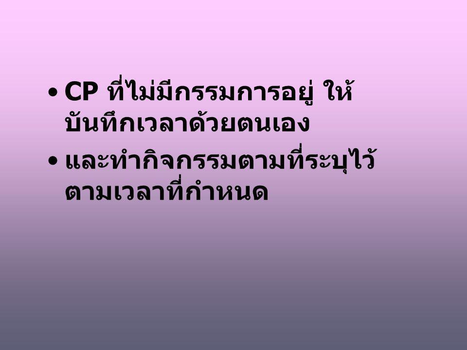 CP ที่ไม่มีกรรมการอยู่ ให้ บันทึกเวลาด้วยตนเอง และทำกิจกรรมตามที่ระบุไว้ ตามเวลาที่กำหนด