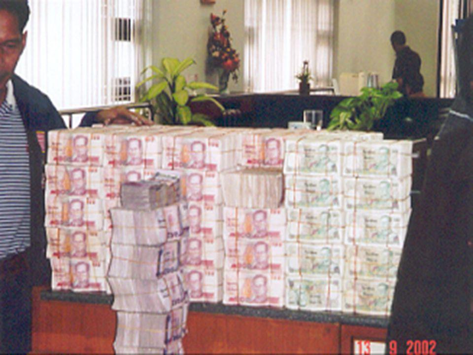 ภาพตัวอย่างเงินสด ที่ยึดได้ใน การกระทำความผิดทุจริต ที่ กรุงเทพฯ