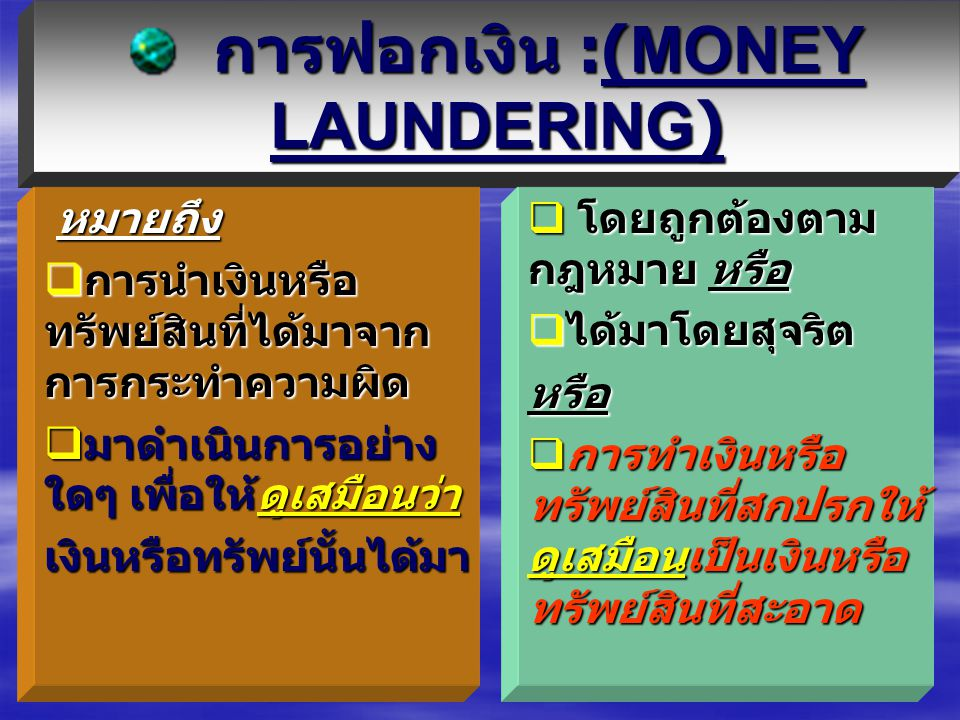 1.การฟอกเงินคืออะไร ?