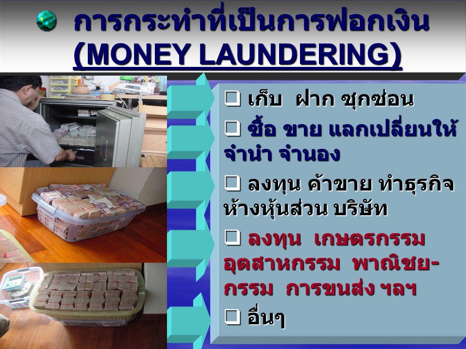 Money Laundering Process  การยักย้าย (Placement)  การปกปิด (Layering)  การนำเข้ามาใช้ (Integration) ทั้งนี้ - เพื่อป้องกันการถูกตรวจสอบ ทั้งนี้ - เ