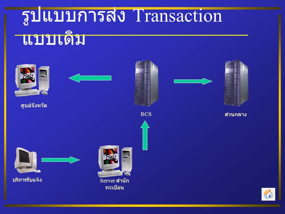 รูปแบบการส่ง Transaction แบบเดิม Server สำนัก ทะเบียน บริการรับแจ้ง ศูนย์จังหวัด RCS ส่วนกลาง
