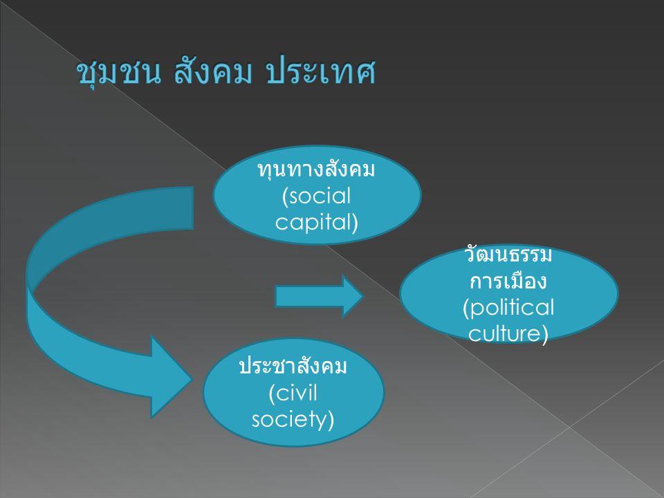 ทุนทางสังคม (social capital) ประชาสังคม (civil society) วัฒนธรรม การเมือง (political culture)