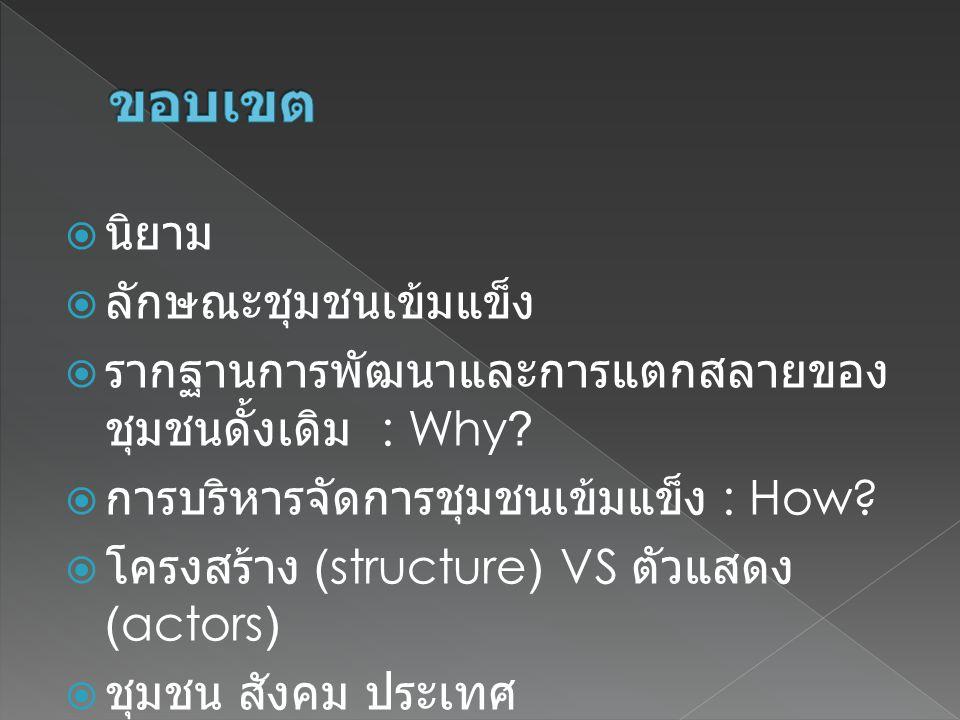  นิยาม  ลักษณะชุมชนเข้มแข็ง  รากฐานการพัฒนาและการแตกสลายของ ชุมชนดั้งเดิม : Why?  การบริหารจัดการชุมชนเข้มแข็ง : How?  โครงสร้าง (structure) VS ต