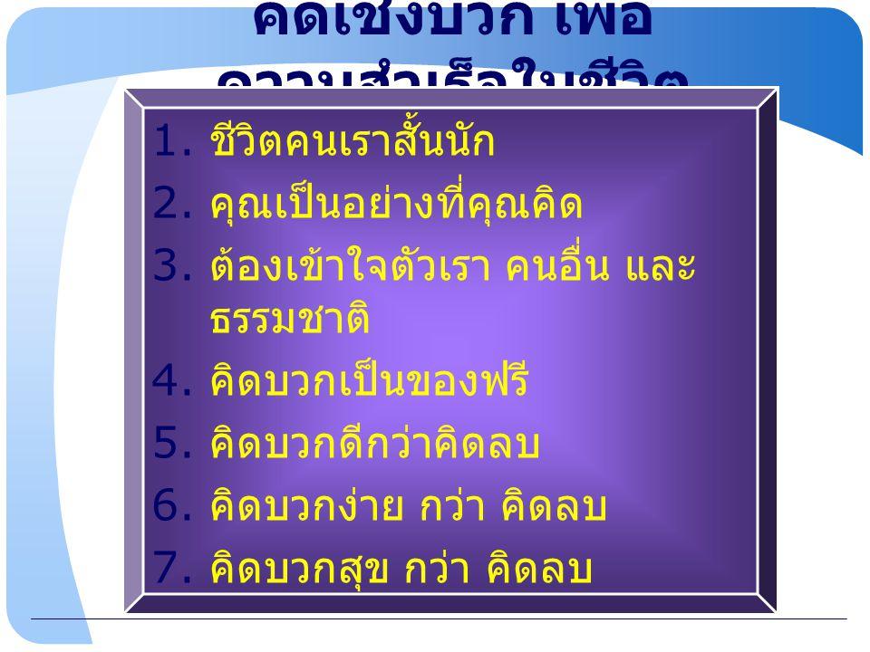 www.themegallery.com คิดเชิงบวก เพื่อ ความสำเร็จในชีวิต 1. ชีวิตคนเราสั้นนัก 2. คุณเป็นอย่างที่คุณคิด 3. ต้องเข้าใจตัวเรา คนอื่น และ ธรรมชาติ 4. คิดบว