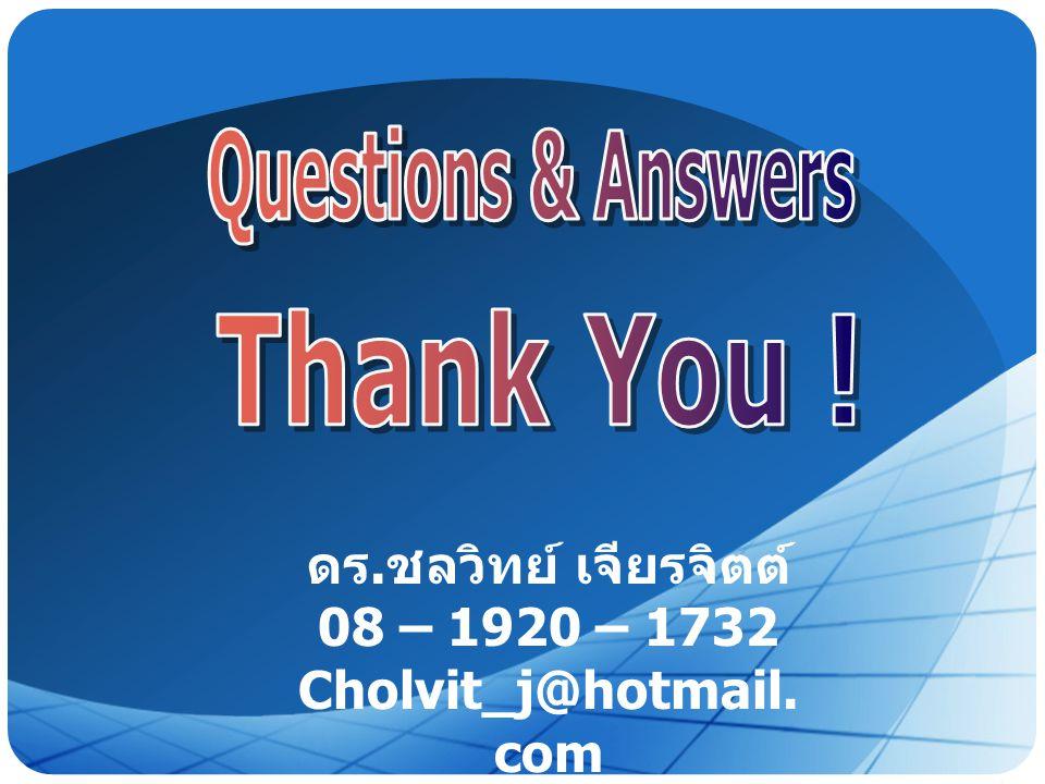 LOGO ดร. ชลวิทย์ เจียรจิตต์ 08 – 1920 – 1732 Cholvit_j@hotmail. com