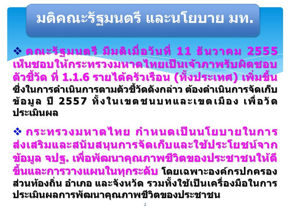 2  คณะรัฐมนตรี มีมติเมื่อวันที่ 11 ธันวาคม 2555 เห็นชอบให้กระทรวงมหาดไทยเป็นเจ้าภาพรับผิดชอบ ตัวชี้วัด ที่ 1.1.6 รายได้ครัวเรือน (ทั้งประเทศ) เพิ่มขึ้น ซึ่งในการดำเนินการตามตัวชี้วัดดังกล่าว ต้องดำเนินการจัดเก็บ ข้อมูล ปี 2557 ทั้งในเขตชนบทและเขตเมือง เพื่อวัด ประเมินผล  กระทรวงมหาดไทย กำหนดเป็นนโยบายในการ ส่งเสริมและสนับสนุนการจัดเก็บและใช้ประโยชน์จาก ข้อมูล จปฐ.