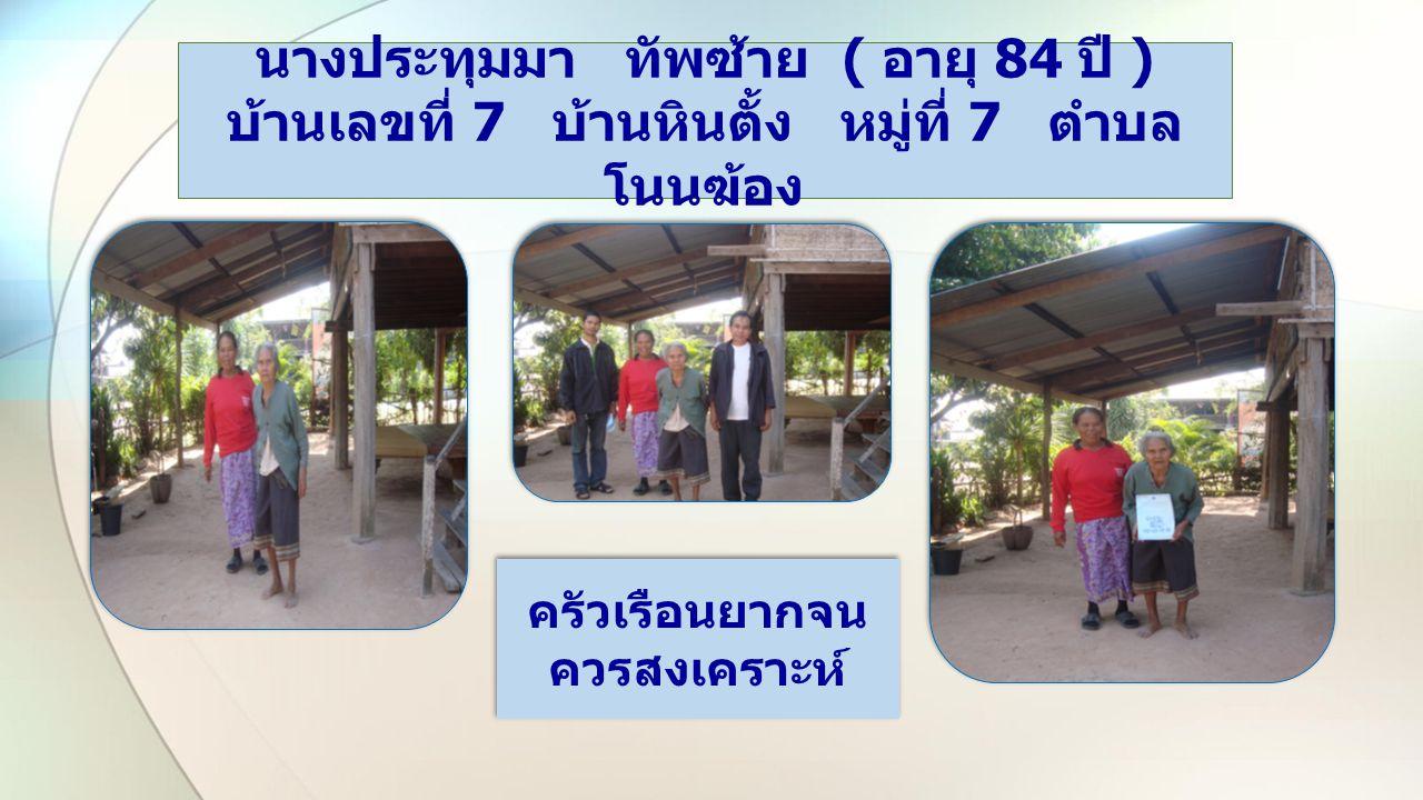 Two Content Layout with Table นายสงคราม แปลมูลตรี ( อายุ 39 ปี ) บ้านเลขที่ 123 บ้านหินตั้ง หมู่ที่ 7 ตำบล โนนฆ้อง ครัวเรือนยากจน พัฒนาได้ ครัวเรือนยากจน พัฒนาได้
