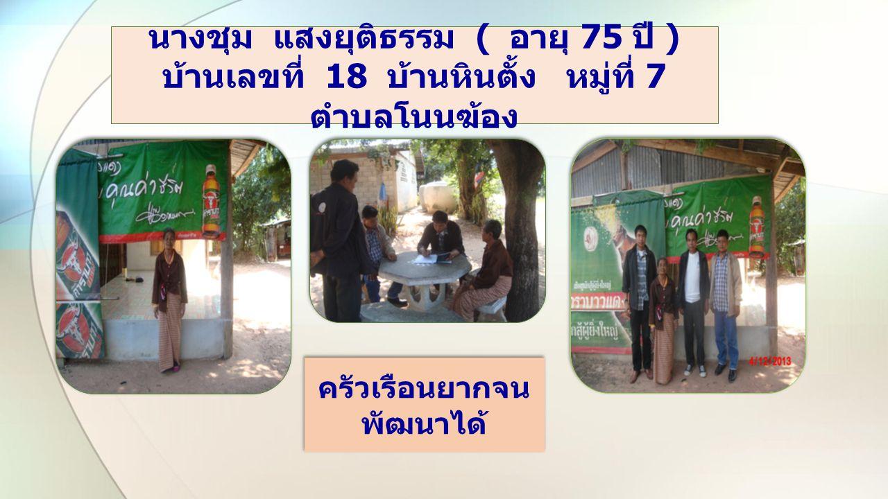 Two Content Layout with Smar นายเสาร์ คำสุ่ย ( อายุ 72 ปี ) บ้านเลขที่ 17 บ้านห้วยหว้า หมู่ที่ 8 ตำบลโนนฆ้อง ครัวเรือนยากจน พัฒนาได้ ครัวเรือนยากจน พัฒนาได้