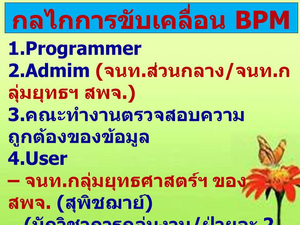 กลไกการขับเคลื่อน BPM 1.Programmer 2.Admim ( จนท. ส่วนกลาง / จนท. ก ลุ่มยุทธฯ สพจ.) 3. คณะทำงานตรวจสอบความ ถูกต้องของข้อมูล 4.User – จนท. กลุ่มยุทธศาส