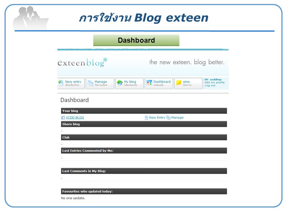 การใช้งาน Blog exteen Dashboard