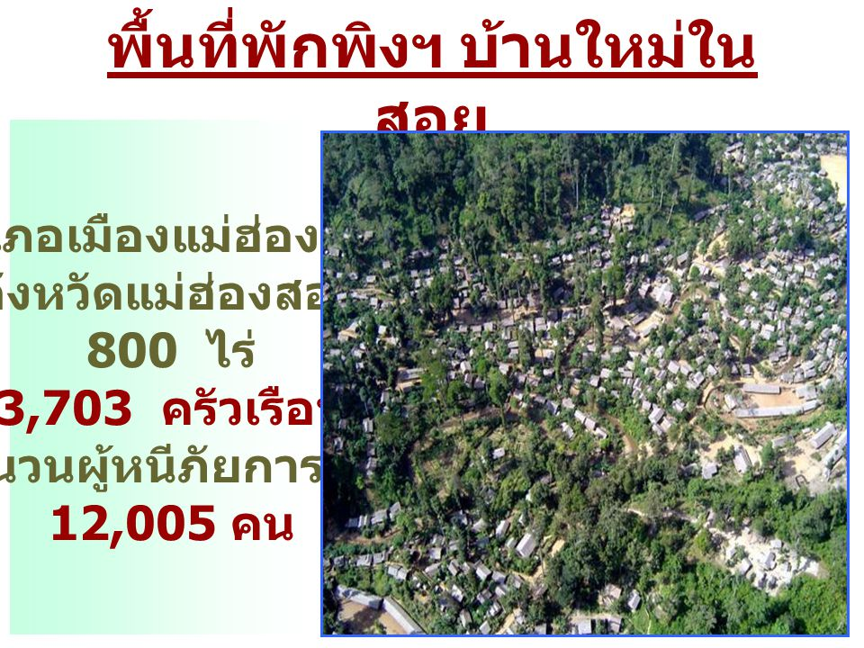 พื้นที่พักพิงฯ บ้านใหม่ใน สอย อำเภอเมืองแม่ฮ่องสอน จังหวัดแม่ฮ่องสอน 800 ไร่ 3,703 ครัวเรือน จำนวนผู้หนีภัยการสู้รบ 12,005 คน