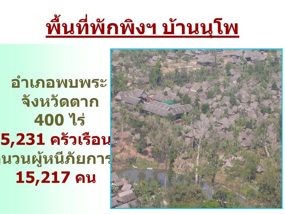พื้นที่พักพิงฯ บ้านนุโพ อำเภอพบพระ จังหวัดตาก 400 ไร่ 5,231 ครัวเรือน จำนวนผู้หนีภัยการสู้รบ 15,217 คน