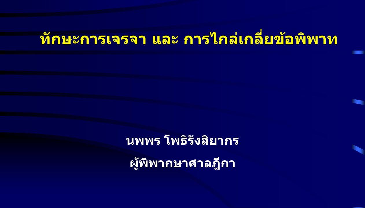 กรอบของการจัดการความขัดแย้ง NEGOTIATIONCONSULTATIONARBITRATIONLITIGATION ADR (Alternative Dispute Resolution) Out of court Mediation Court based Mediation Informal ADR Formal ADR MEDIATION